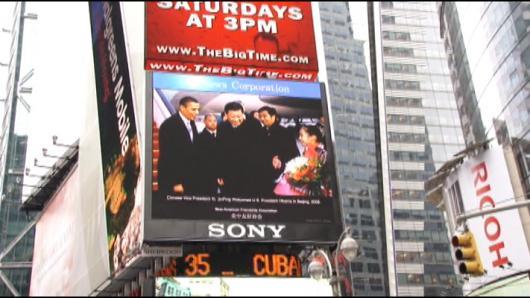 纽约时报广场  播放习近平专题短片