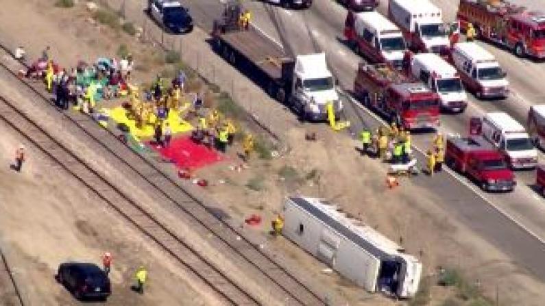 洛杉矶华人赌场大巴翻车 至少52人受伤