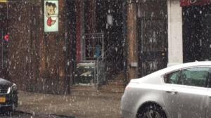纽约入春首日降雪 民众措手不及商家叫苦