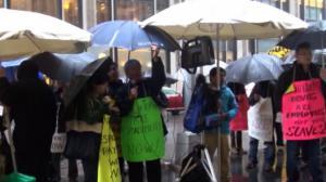 法拉盛电召车公司违法劳工法 被解雇华韩裔员工冒雨抗议