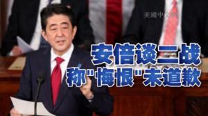 """安倍美国会演讲 谈二战称""""悔恨""""但未提道歉"""