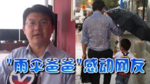 """感动数百万网友  华裔""""雨伞爸爸"""":伞遮儿子是本能"""