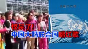 中国大妈联合国门前兴奋唱红歌