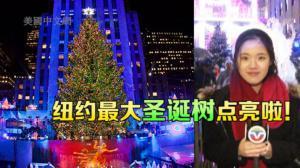 纽约洛克菲勒中心圣诞树点亮  五万彩灯闪耀迎接圣诞季