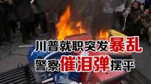 川普就职突发暴乱 警察用催泪弹摆平