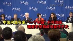 """中国问题专家:""""一个中国""""不可动摇 美中两国不会发生贸易战"""