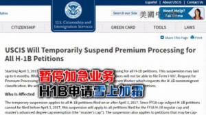 联邦移民局宣布暂停18财年H-1B申请加急业务