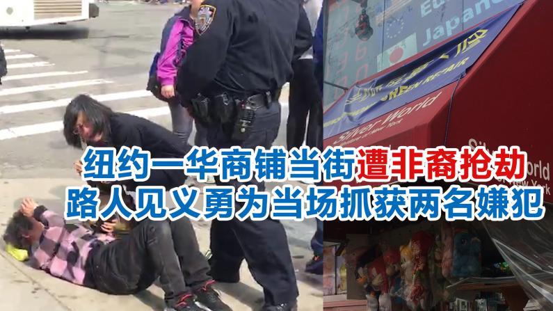 纽约一华商铺当街遭非裔抢劫 路人见义勇为当场抓获两名嫌犯