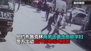纽约布鲁克林两男子袭击抢劫华妇 警方地毯式搜索 嫌犯仍在逃