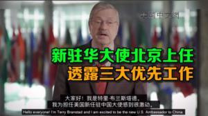 布兰斯塔德视频留言: 为担任驻华大使感到激动