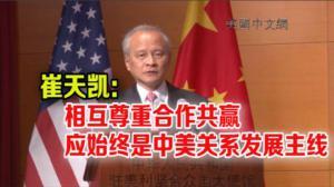 崔天凯:相互尊重合作共赢应始终是中美关系发展主线