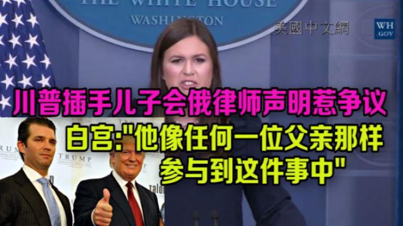 川普插手儿子会俄律师声明惹争议?白宫:他像任何一位父亲那样参与此事