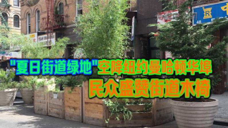 """""""夏日街道绿地""""空降纽约曼哈顿华埠 民众盛赞街道木椅"""
