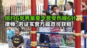纽约6岁男童夏令营受伤下颚缝6针 律师:若证实营方疏忽可获意外伤害赔偿