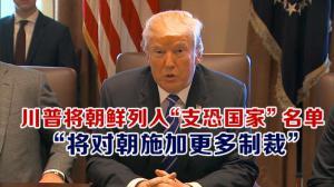 """川普将朝鲜列入""""支恐国家""""名单  """"将对朝施加更多制裁"""""""
