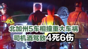 北加州5车相撞重大车祸 司机酒驾致4死6伤