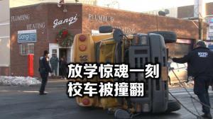 纽约贝瑞吉校车被撞翻 车内学童仅受轻伤无大碍