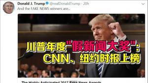 """川普""""颁发""""2017年十大假新闻奖"""