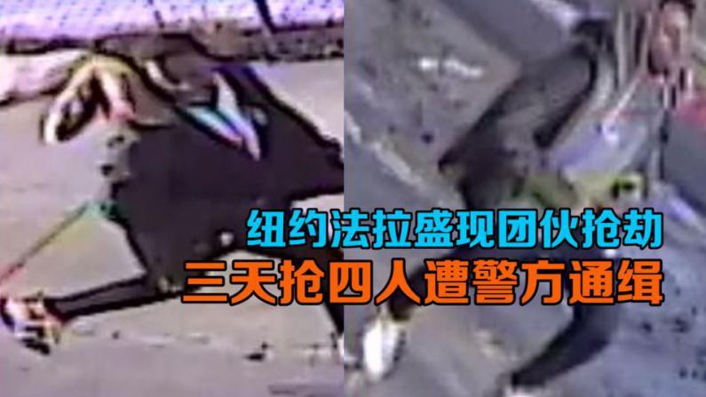 纽约法拉盛现团伙抢劫 三天抢四人遭警方通缉