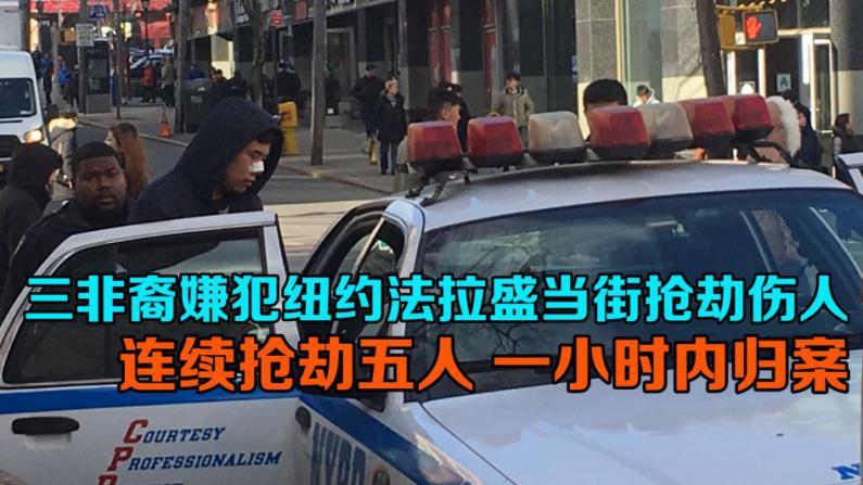 三非裔嫌犯纽约法拉盛当街抢劫伤人 连续抢劫五人 一小时内归案