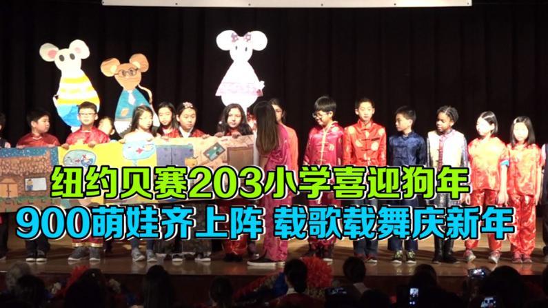 纽约贝赛203小学喜迎狗年  逾900学童齐上阵 载歌载舞庆新年