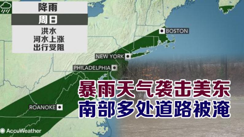 暴雨天气袭击美东 南部多处道路被淹