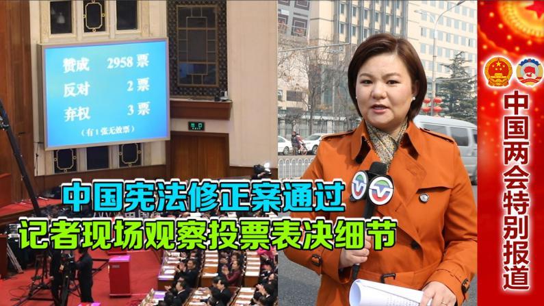 中国宪法修正案通过 记者现场观察投票表决细节
