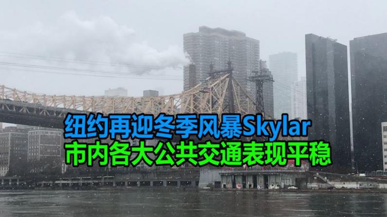 纽约再迎冬季风暴Skylar  市内各大公共交通表现平稳