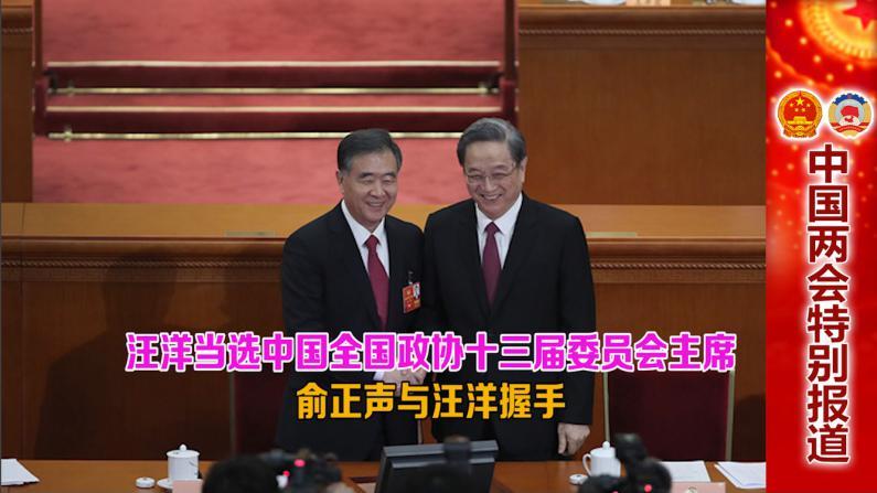 汪洋当选中国全国政协十三届委员会主席 俞正声与汪洋握手