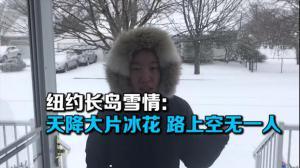 纽约长岛雪情:天降大片冰花 路上空无一人