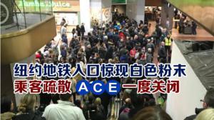 纽约地铁站入口现白色粉末 乘客疏散 ACE一度关闭