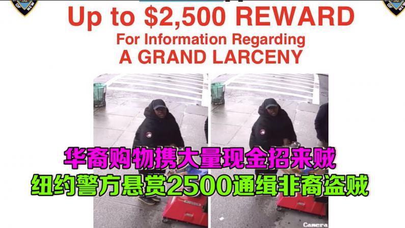 华裔购物携大量现金招来贼  纽约警方悬赏2500通缉非裔盗贼