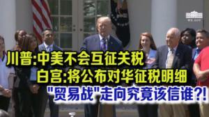 川普:中美不会互征关税  白宫:将公布1000亿征税明细