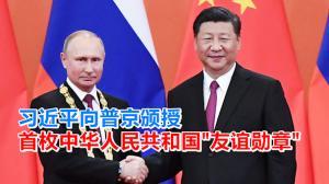 """习近平向普京颁授首枚中华人民共和国""""友谊勋章"""""""