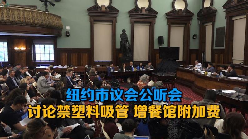 纽约市议会公听会 讨论禁塑料吸管 增餐馆附加费
