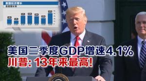 美国二季度GDP增速4.1% 川普:13年来最高!