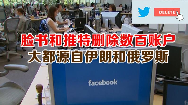脸书和推特删除数百账户  大都源自伊朗和俄罗斯