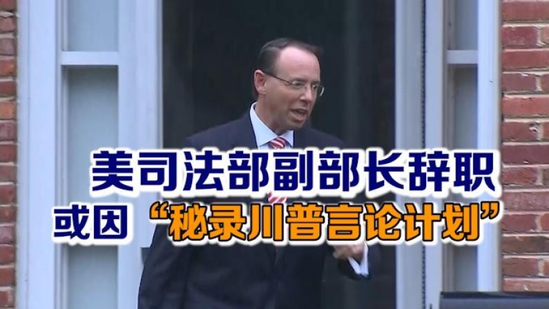 """美司法部副部长提辞职 或因""""秘录川普言论计划""""传闻"""