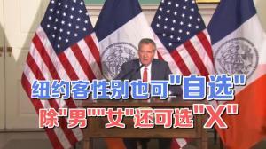 """纽约市长欲签署法案 新增性别X并可""""自选""""性别"""