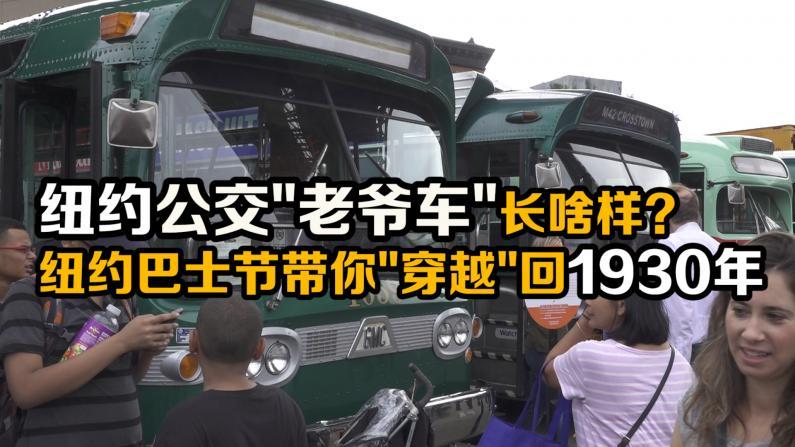 """第25届纽约巴士节开幕 多辆纽约公交""""老爷车""""亮相"""