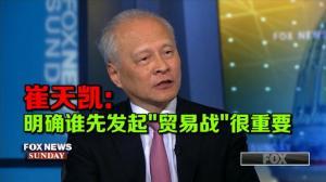 """崔天凯:明确谁先发起""""贸易战""""很重要"""