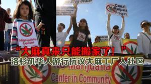 洛杉矶数百华裔民众抗议大麻种植工厂进驻华人社区