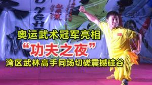 """奥运武术冠军亮相""""功夫之夜"""" 湾区武林高手同场切磋震撼硅谷"""