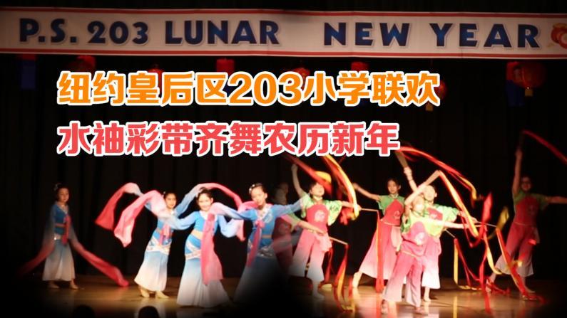 纽约皇后区203小学联欢 水袖彩带齐舞农历新年