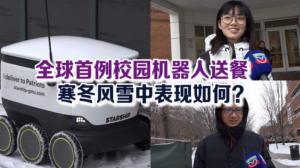 全球首例校园机器人送餐 风雪寒冬表现如何?