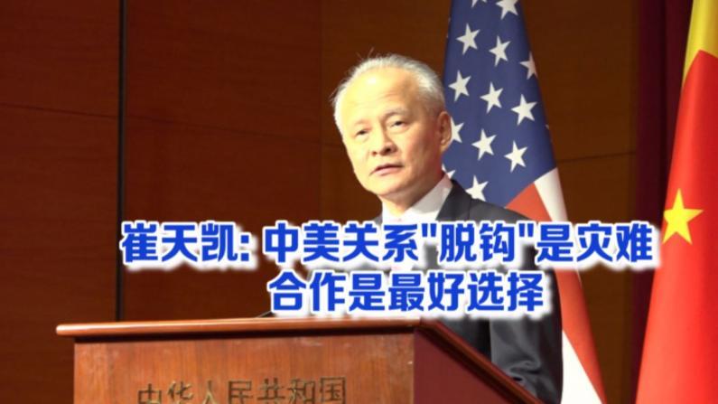 """崔天凯:中美关系""""脱钩""""是灾难 合作是最好选择"""