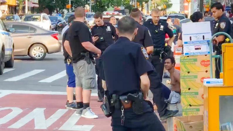 众警察围捕 赤裸游民纽约法拉盛扰民