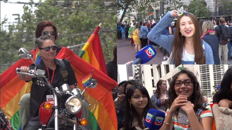 旧金山同性恋大游行 抗议者挡道一度停摆