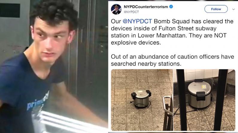 神秘男子地铁站丢空饭锅 吓坏纽约通勤客