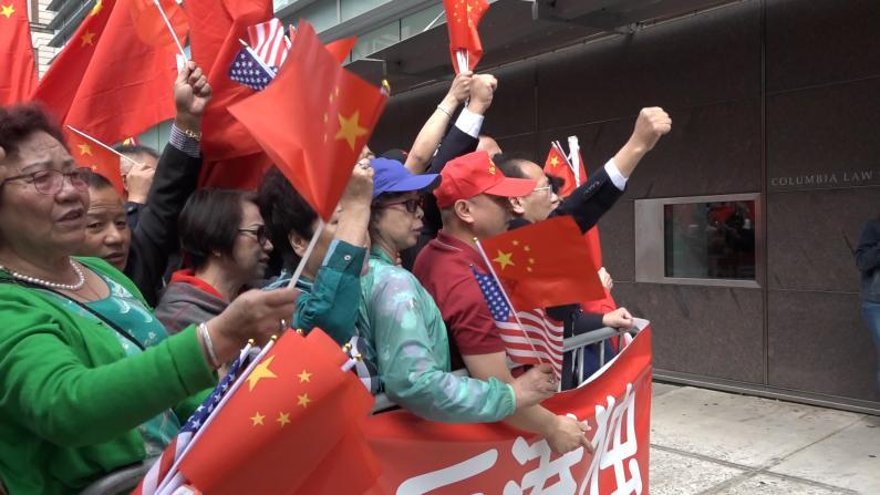 黄之锋哥大演讲遭数百华人抗议